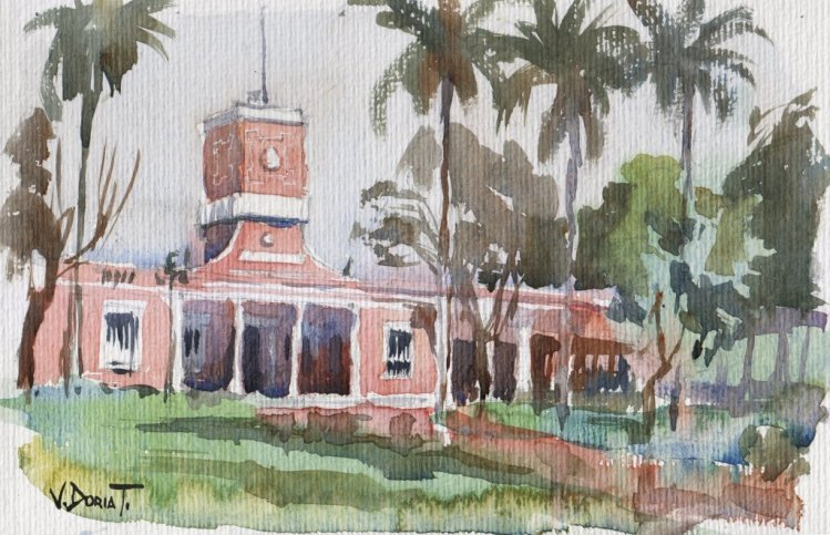 Sketch of the Library, Barranco district, Lima, Peru. It's been a while since the last time I