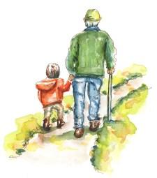 """Boy and Grandpa Watercolor Da Vinci """"Vintage"""" Trio - ©Doodlewash"""