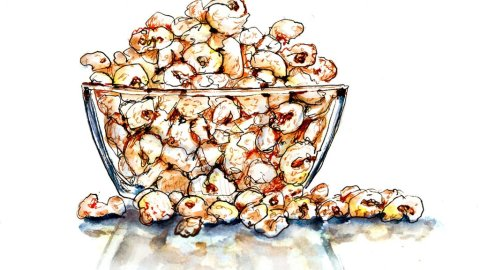 Day 23 - Family Popcorn Night Watercolor - Doodlewash