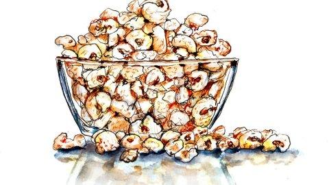 Day 23 - Family Popcorn Night Watercolor - Doodlewash