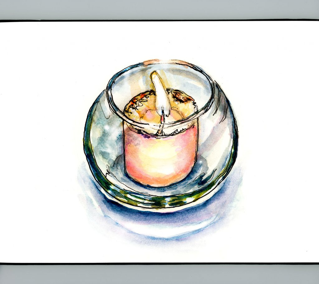 Day 27 - Candle Inktober Watercolor Glass Votive Detail - Doodlewash