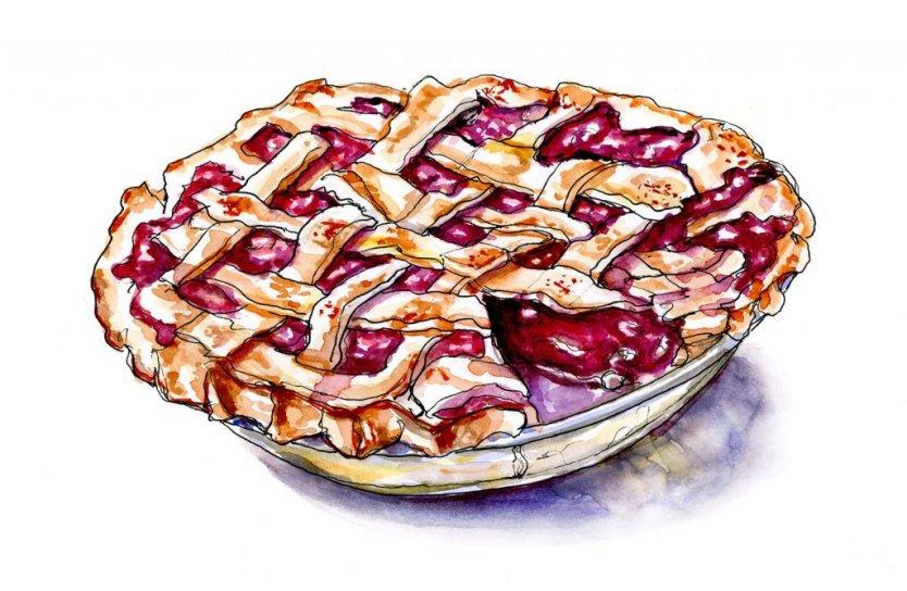 Day 9 - Cherry Pie Watercolor - Doodlewash