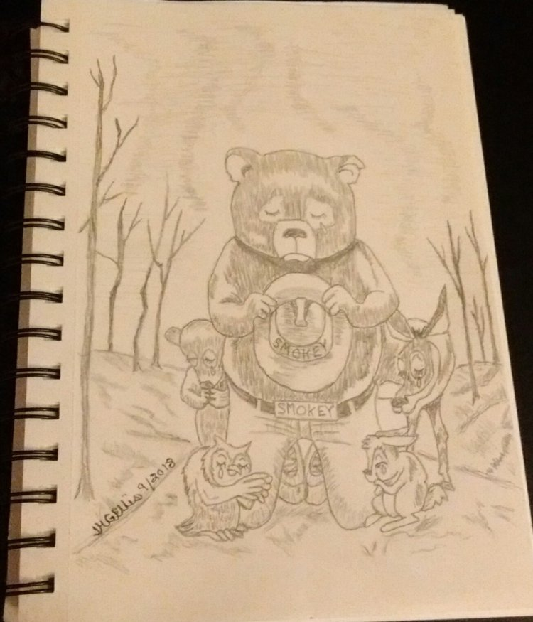 This is a sketch I did with Smokey Bear in a burned out forrest to symbolize the dangers of open &#x