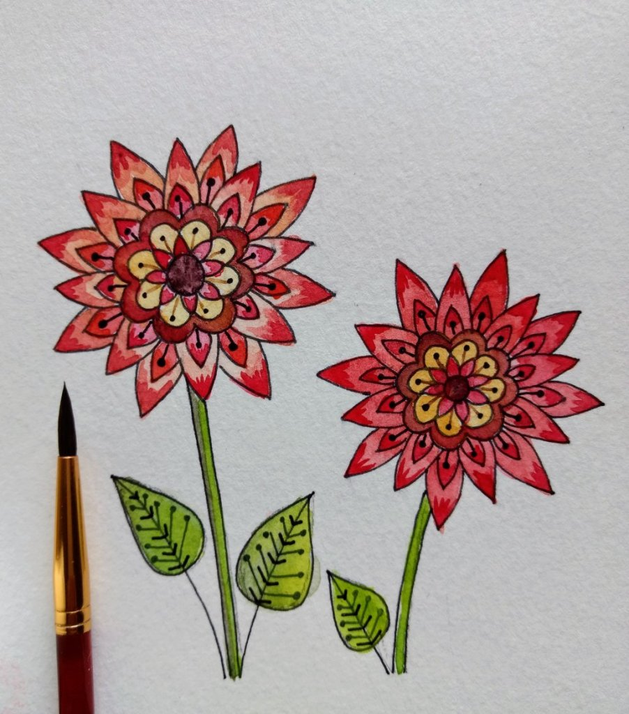 Flowers For today's challenge in Doodlewash, I decided to use watercolor and some pen to paint