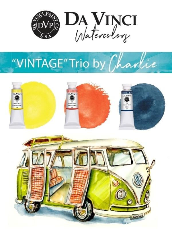 Charlie's Vintage Da Vinci Watercolor Trio
