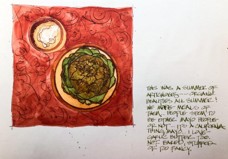A memory of an amazing summer of artichoke meals created in Super5 Austrailia ink and my Da Vinci Mo