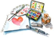 Watercolor Paint Palette Pen And Ink