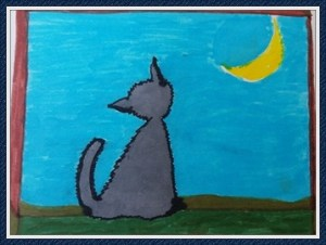 In the beginning. Take the first step. Just make a mark … art one gray cat looking at the moon