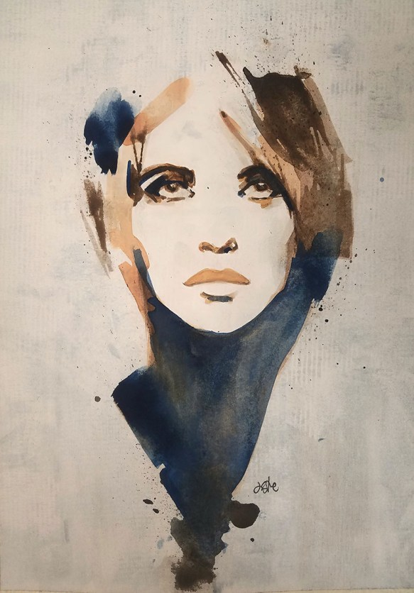 Abstract Woman Watercolor By Jeff Stone - Doodlewash