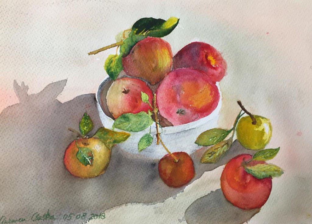 Bowl Of Apples Watercolor by Carmen Costea - Doodlewash