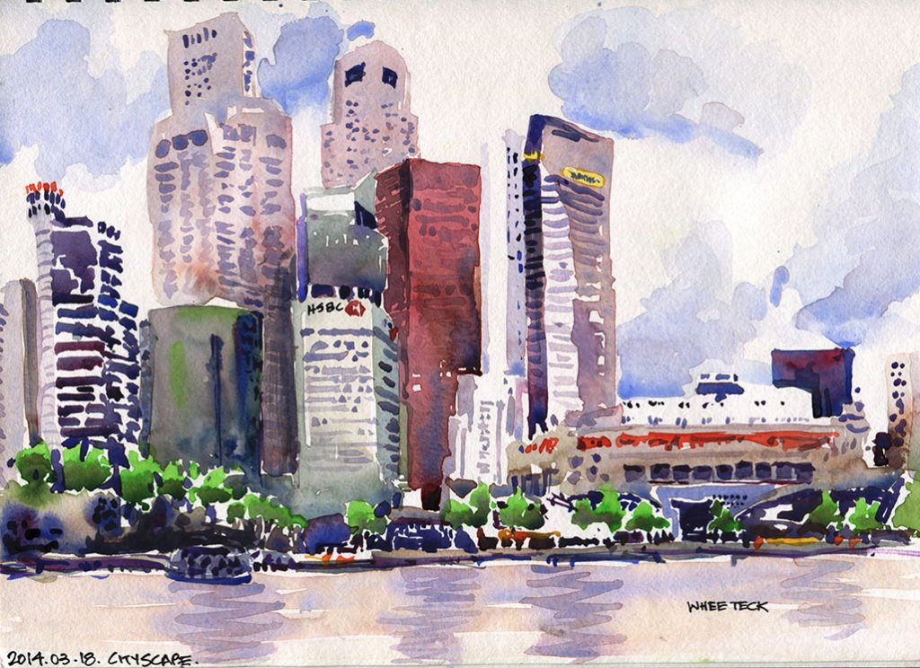 Cityscape Watercolor by Whee Teck Ong - Doodlewash