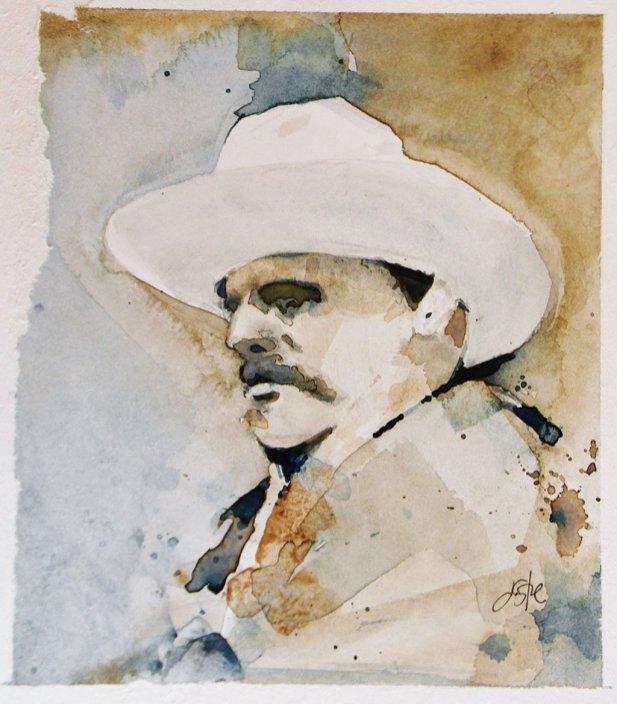 Cowboy Watercolor By Jeff Stone - Doodlewash