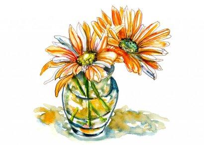 Day 13 - Orange Flowers Watercolor Painting - Doodlewash