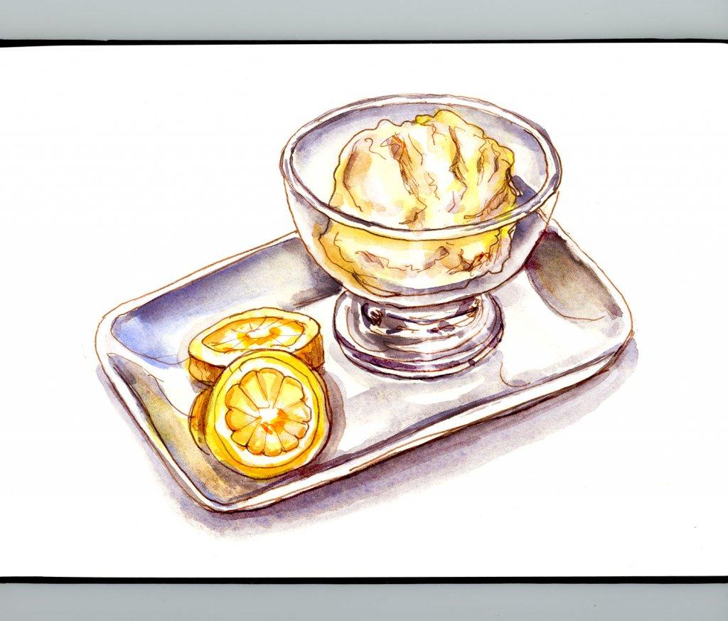 Day 2 - Lemon Sorbet Ice Cream Watercolor Detail - Doodlewash
