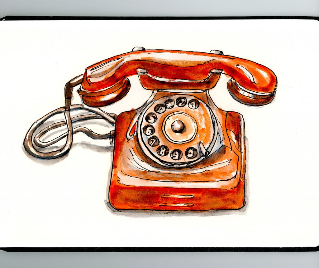 Day 21 - Antique Rotary Dial Phone Watercolor Sketchbook - Doodlewash