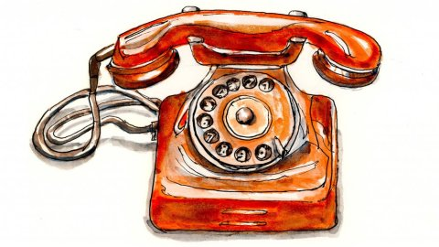 Day 21 - Antique Rotary Dial Phone Watercolor - Doodlewash