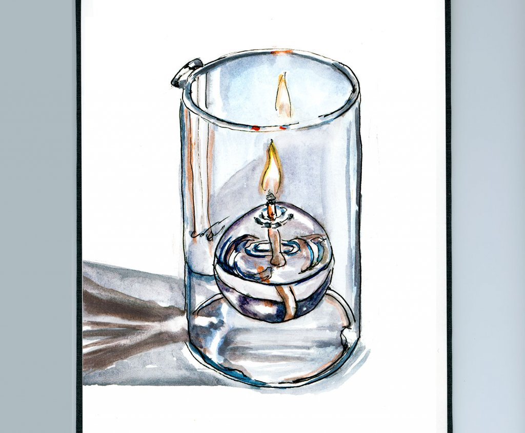 Day 24 - Burning The Midnight Oil Candle Watercolor Sketchbook - Doodlewash