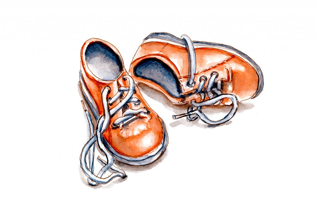 Day 25 - Minature Baby Shoes Orange Watercolor - Doodlewash