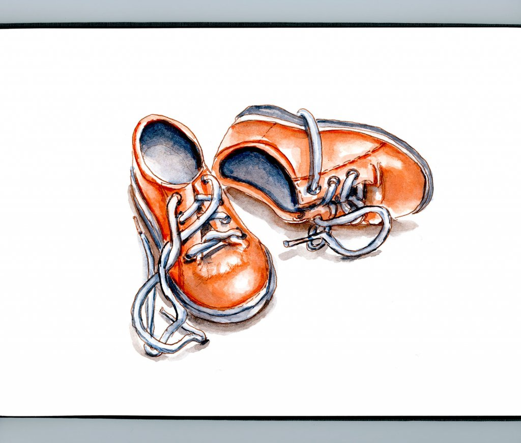 Day 25 - Minature Baby Shoes Orange Watercolor Sketchbook - Doodlewash