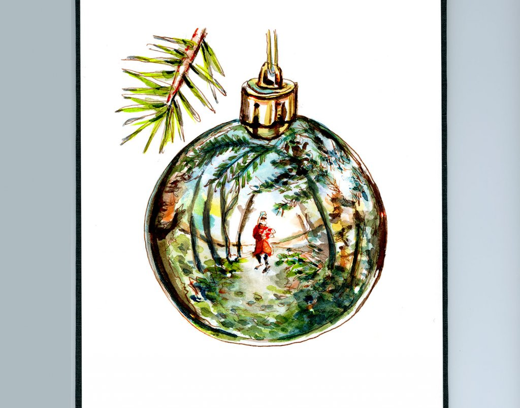 Day 26 - Christmas Ornament Reflection Watercolor Sketchbook - Doodlewash