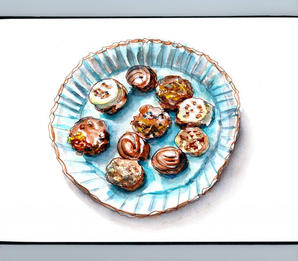 Day 27 - Chocolate Truffles Watercolor Sketchbook - Doodlewash