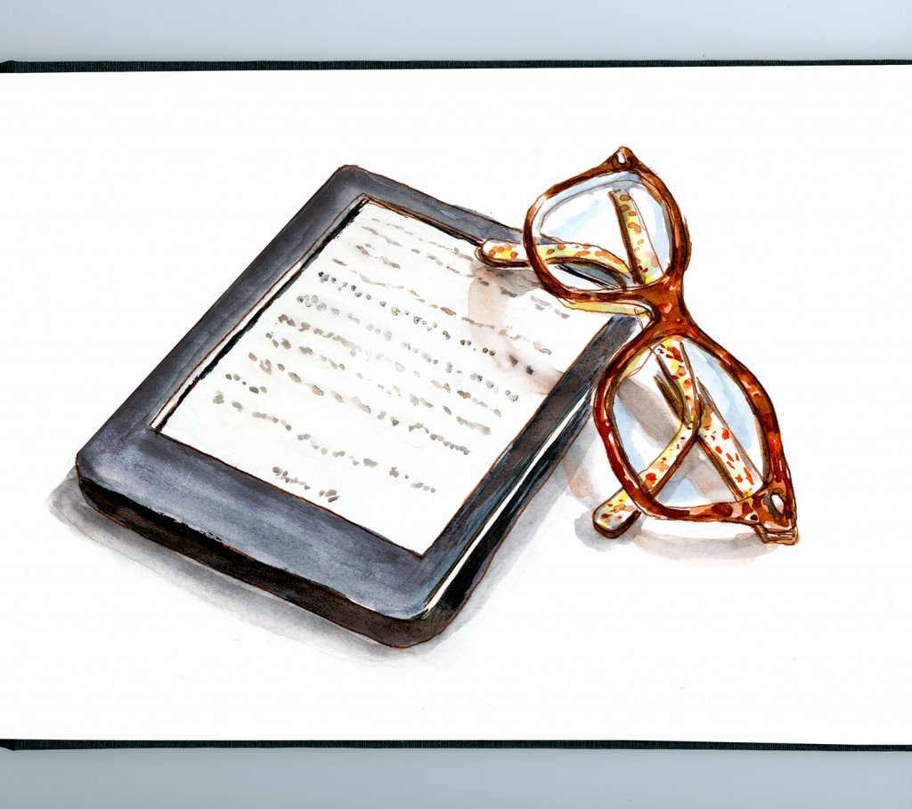 Day 28 - Modern Reading EReader Glasses Watercolor Sketchbook - Doodlewash
