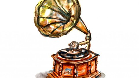 Day 29 - Phonograph Watercolor Vintage - Doodlewash