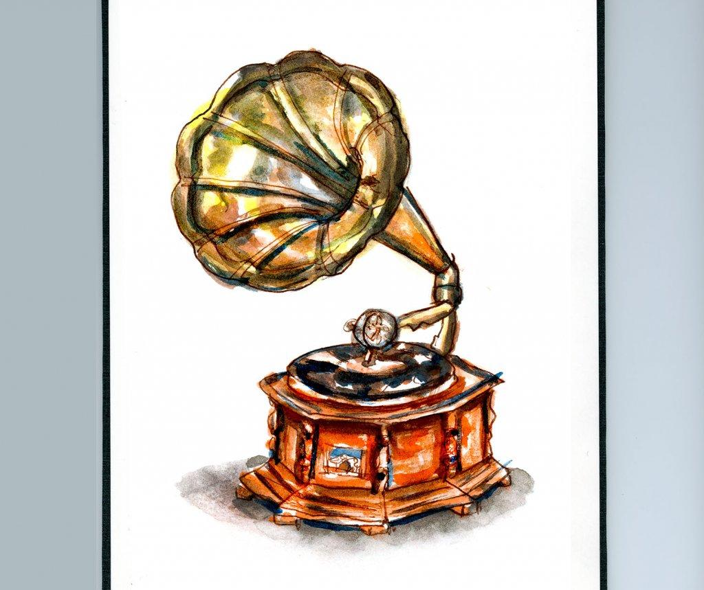 Day 29 - Phonograph Watercolor Vintage Sketchbook - Doodlewash