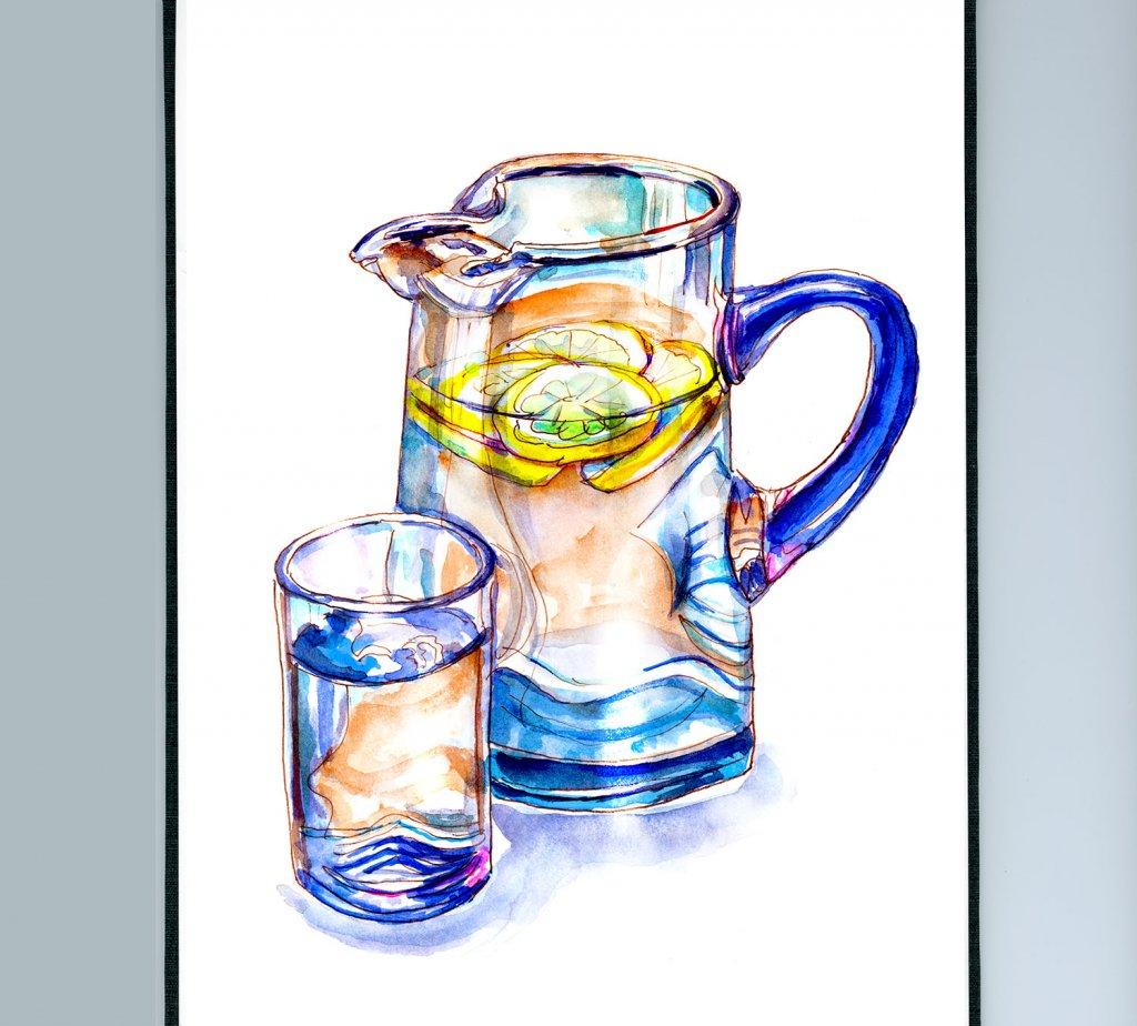 Day 5 - Lemon Water Glass Pitcher Watercolor Detail - Doodlewash