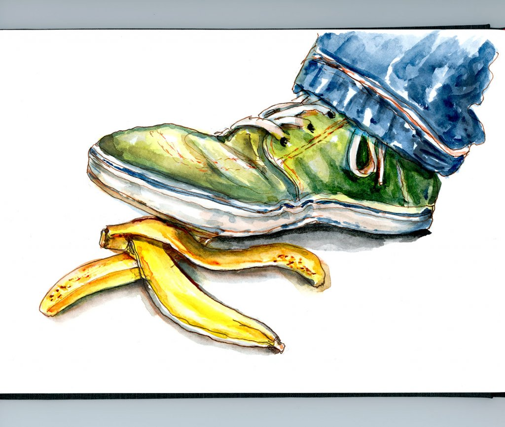 Day 9 - About to Slip On A Banana Peel Watercolor Detail - Doodlewash