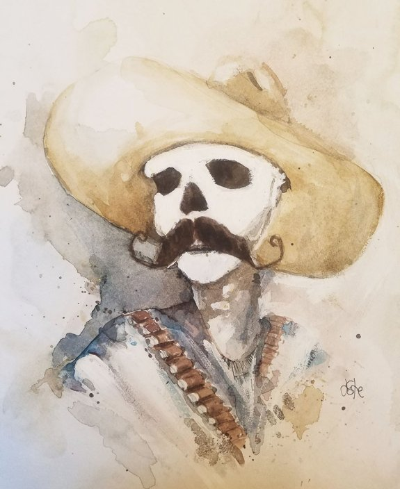 Dead Cowboy Watercolor By Jeff Stone - Doodlewash