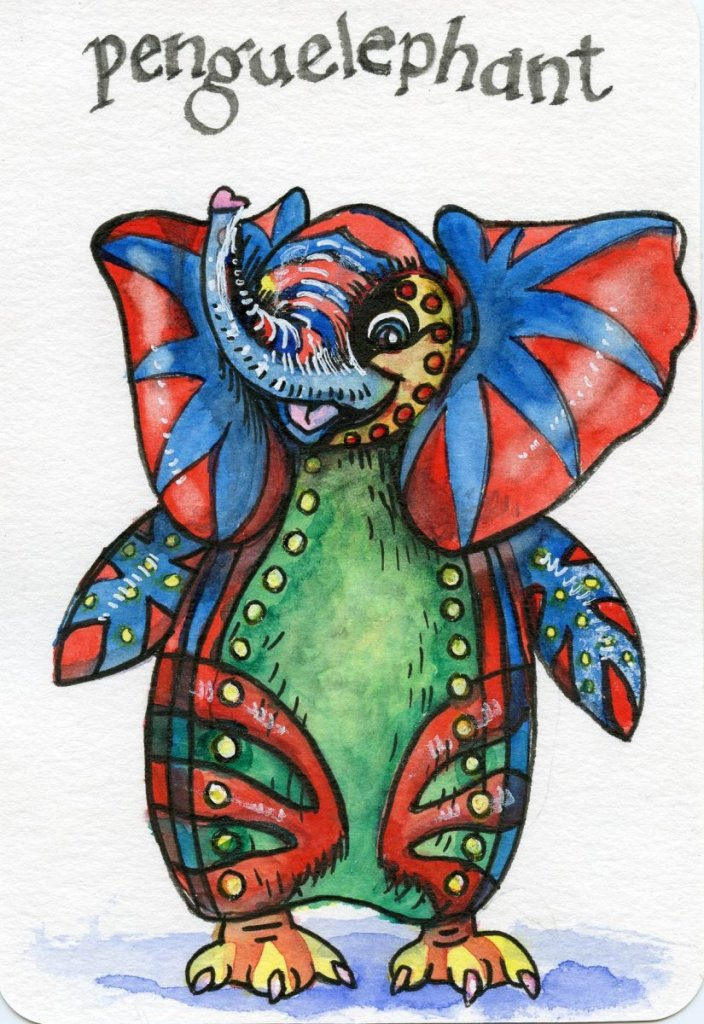 Did you know the Penguelephant is a rare Alebrije, half penguin, half elephant, who lives halfway be