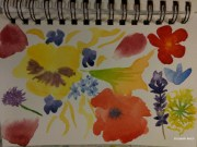 November 2018 30 prompts painted as flowers: Day 1: no flowers all about my art supplies. Day2 Food