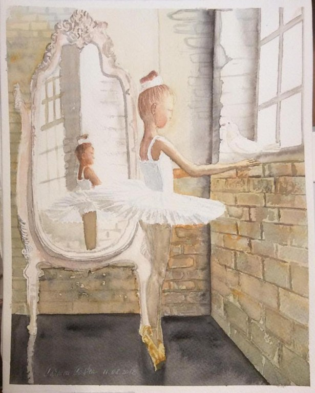 Ballerina Watercolor by Carmen Costea - Doodlewash