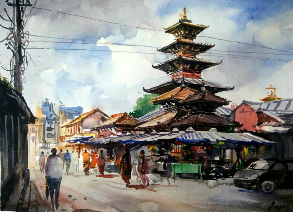 Banglamukhi Temple, Patan, Lalitpur District Nepal 15 x11 inch Watercolor on Fabriano 300gsm 2018 SO