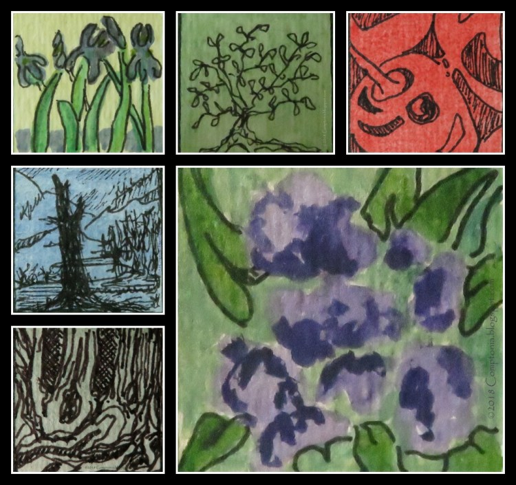 Been changing things up a bit, doing 1-inch squares. Here are six recent ink and watercolor efforts: