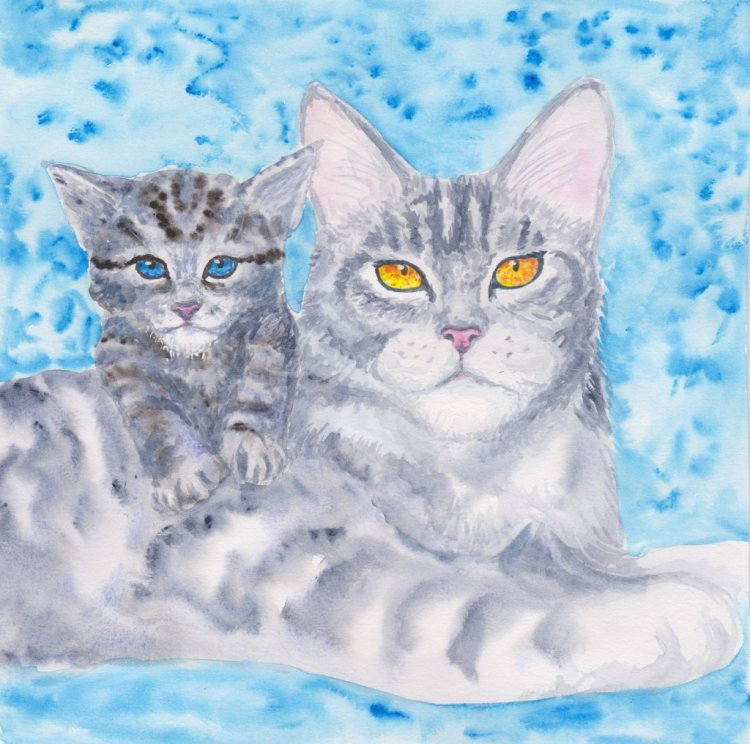 Cat – mom This art is for challenge about cats #watercolor Скан_20181217