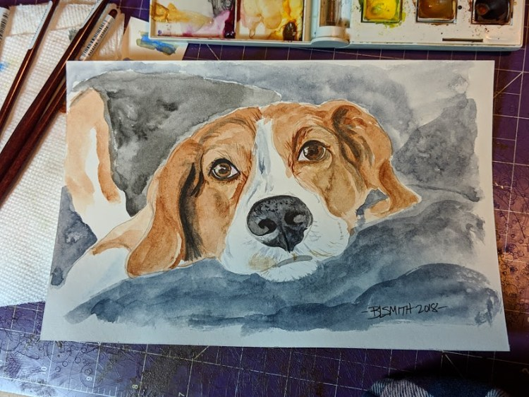 portrait of my dog, Luna…done on Strathmore vision watercolour 140lb 6×9 00000IMG_00000_B