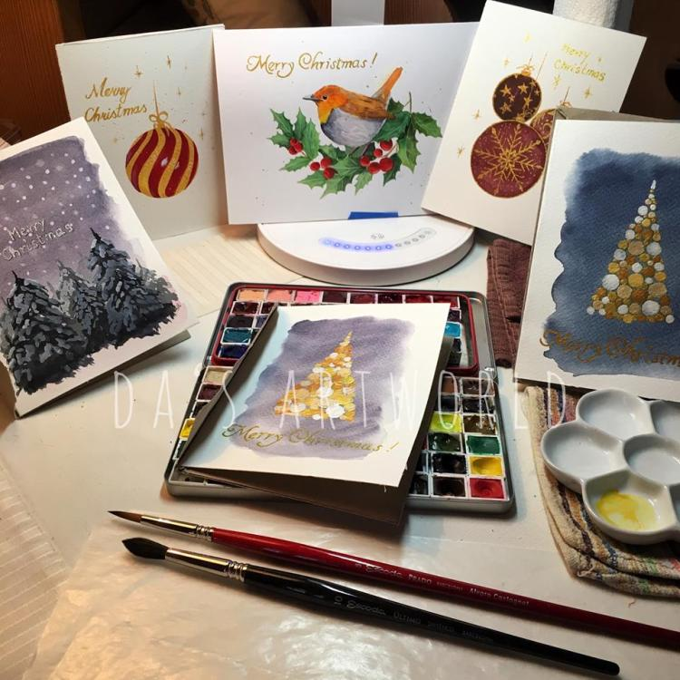 Finished a few more Christmas cards – now to just finish making the envelopes! All painted wit