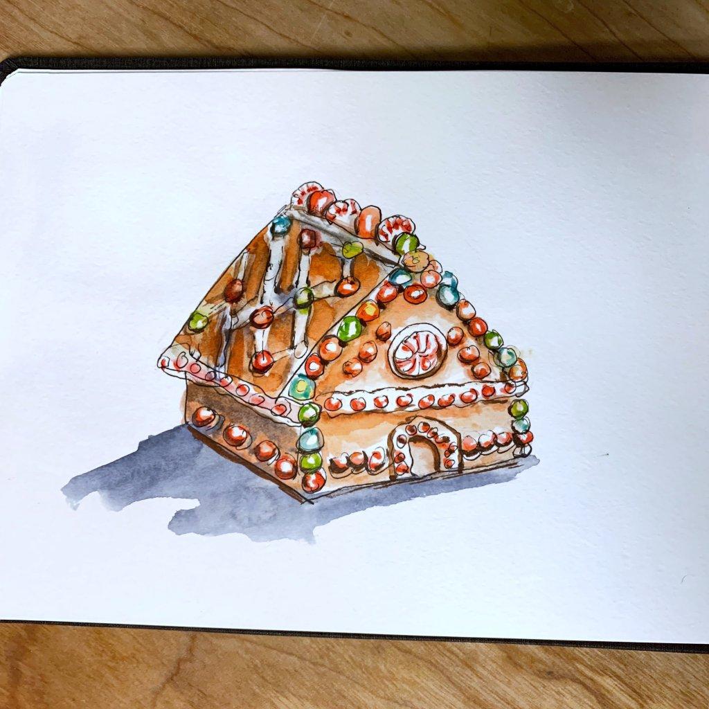 Gingerbread House Watercolor Sketchbook - Doodlewash