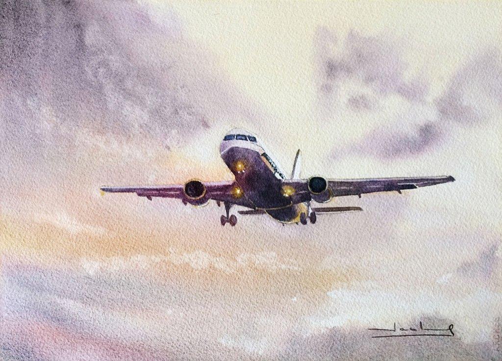 Avión Airplane Watercolor by Teresa Santos - Doodlewash