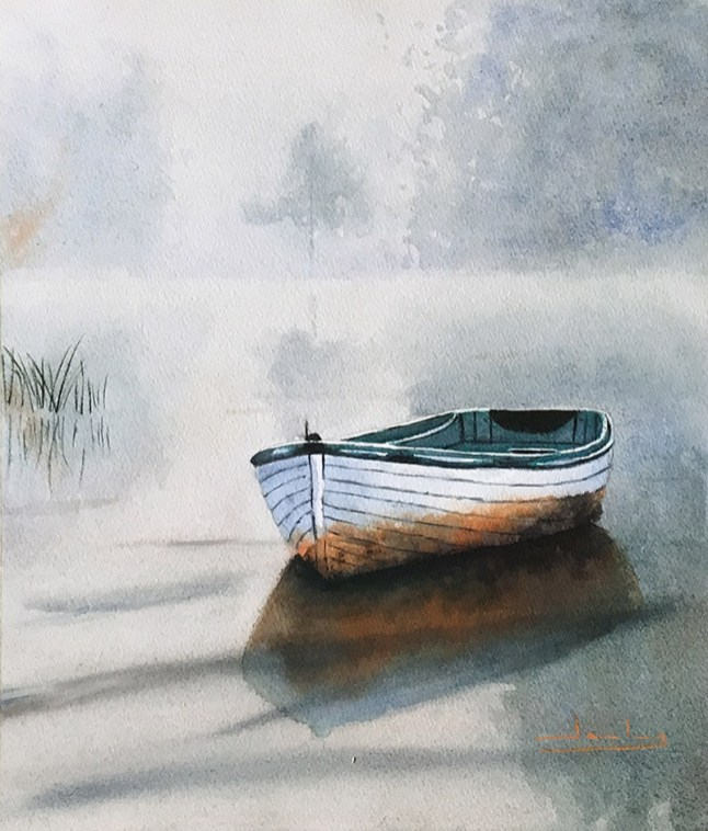 Barca en la niebla, tamaño grande Watercolor by Teresa Santos - Doodlewash