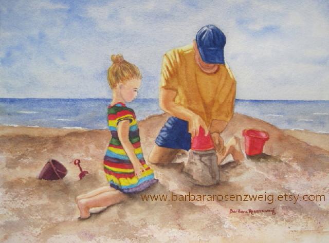 Beach Dad Daughter Watercolor by Barbara Rosenzweig - Doodlewash