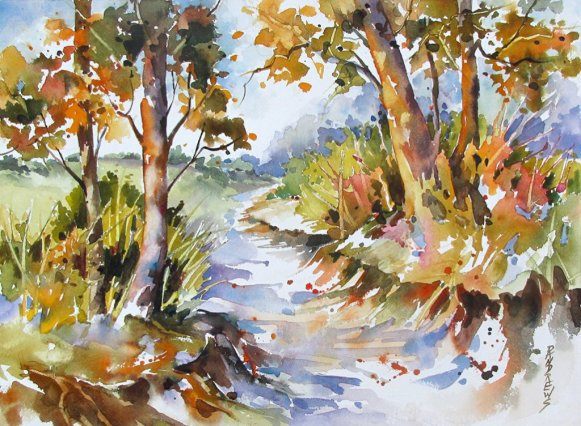 Watercolor by Rae Andrews - Country Walk 12 x 16 watercolor