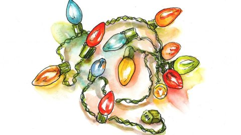 Day 1 - Vintage Christmas Lights Watercolor Sketchbook - Doodlewash