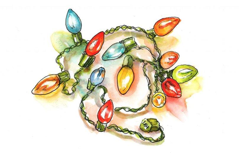 Day 1 - Vintage Christmas Lights Watercolor Sketchbook - Doodlewash