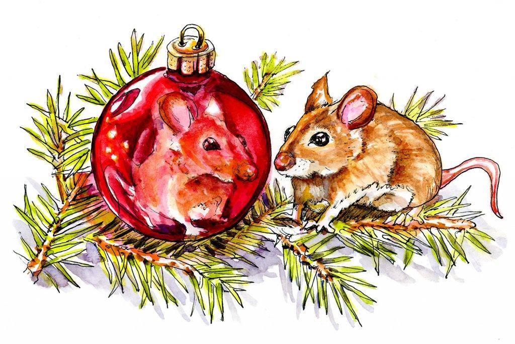 Christmas Mouse Watercolor Ornament Reflection - Doodlewash