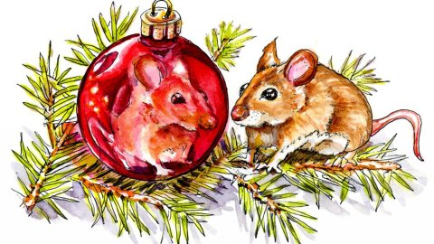 Christmas Mouse Watercolor Ornament Reflection - Doodlewash