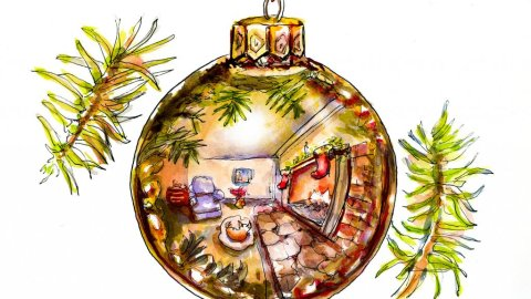 Day 16 - Christmas Ornament Reflection Watercolor - Doodlewash