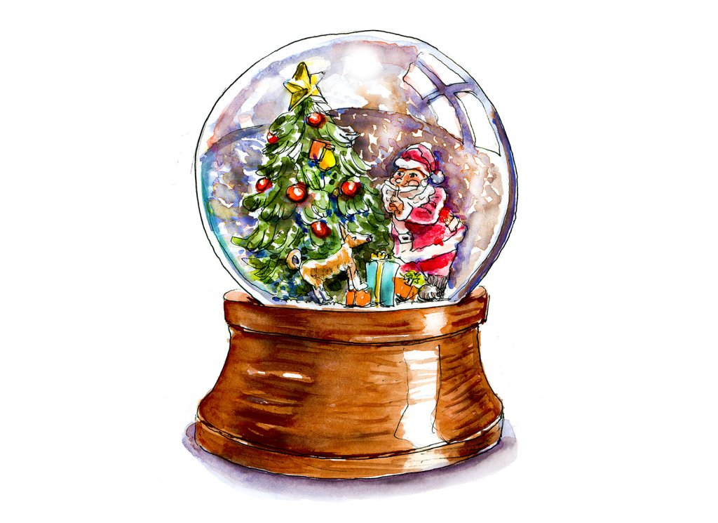 Day 18 - Santa Snow Globe Watercolor - Doodlewash